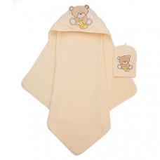 Детское полотенце-уголок и рукавичка-мочалка Медвежонок
