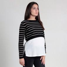 Джемпер для беременных Oh Ma, черный, белый