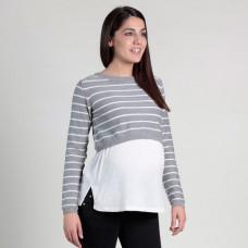Джемпер для беременных Oh Ma, серый, белый