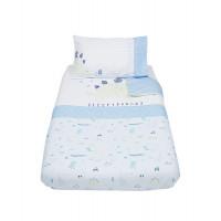 """Комплект постельного белья """"Динозаврик"""", белый, голубой"""