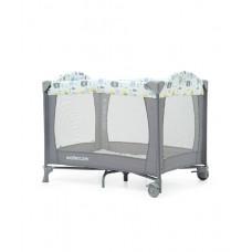 Кроватка-манеж классическая, с изображением слоненка, цвет: серый
