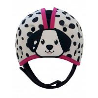 "Мягкая шапка-шлем для защиты головы SafeheadBaby ""Далматин"", белый с розовым"