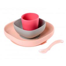 Набор посуды: 2 тарелки, стакан, ложка Beaba Silicone