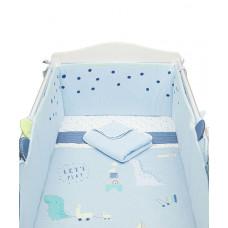"""Набор в детскую кроватку """"Динозаврик"""" с длинным бампером, голубой"""