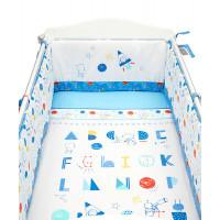 """Набор в детскую кроватку """"Исследователь космоса"""", белый, голубой"""