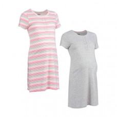 Ночные сорочки для беременных, 2 шт., серый и розовый