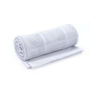 Одеяло ажурное хлопковое для кроватки, цвет: серый