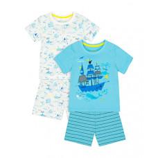 """Пижамы """"Корабль"""", 2 шт., белый, голубой"""