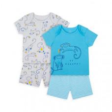 """Пижамы """"Веселые обезьянки"""", 2 шт., голубой, серый"""