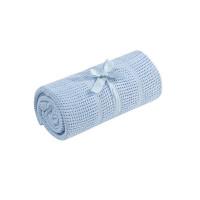 Плед для кроватки хлопковый 155х120 см,голубой