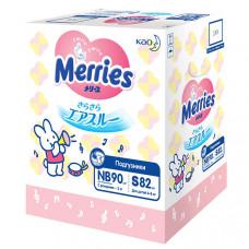 """Подгузники для детей Merries """"Набор на рождение"""" (NB - 90 шт., S - 82 шт.)"""