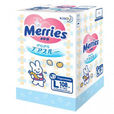 Подгузники для детей Merries размер L 9-14 кг 108 шт.