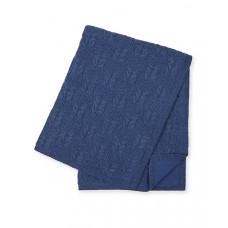 Покрывало вязаное с флисовой подкладкой, синий