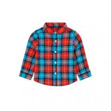 Рубашка в клетку, синий, красный