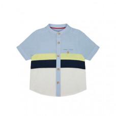 Рубашка в полоску, белый, голубой, желтый