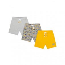 """Трикотажные шорты """"Машинки"""", 3 шт., серый, жёлтый"""