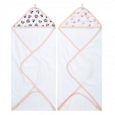 Aden&Anais Набор полотенец с уголком Minnie rainbows Essentials 76x76 см 2 шт.
