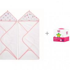 Aden&Anais полотенца с уголком Floral fauna 76x76 см 2 шт. и шипучая бомбочка для ванны Бабл-Гам Аquatory