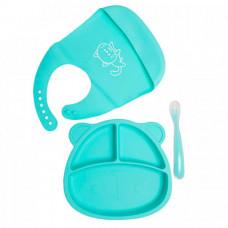 Baby Nice (ОТК) Комплект детской посуды из силикона: тарелка с ложкой и нагрудник