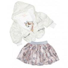 Baby Rose Комплект для девочки жакет, лонгслив и юбка 3274