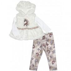 Baby Rose Комплект для девочки жилет, лонгслив и леггинсы