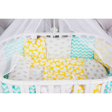 Бортик в кроватку AmaroBaby Happy Baby 12 подушек