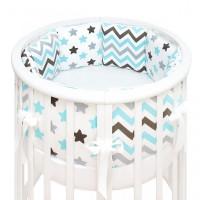 Бортик в кроватку Fluffymoon Blue Sky в круглую и овальную подушки