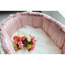 Бортик в кроватку Krisfi Пудра в прямоугольную и овальную кроватку