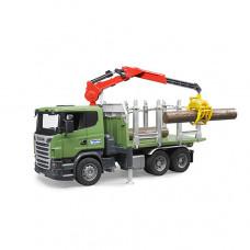 Bruder Лесовоз Scania с портативным краном и брёвнами
