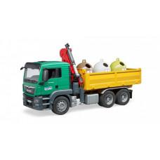Bruder Самосвал MAN c 3 мусорными контейнерами