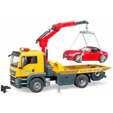 Bruder Самосвал Mercedes-Benz с мини погрузчиком и спортивным автомобилем