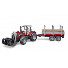 Bruder Трактор Massey Ferguson c манипулятором и прицепом