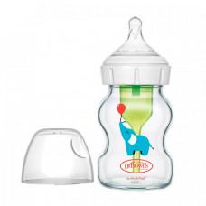 Бутылочка Dr.Brown's Антиколиковая Options+ с широким горлышком с соской для новорождённых Стеклянная Слоник 150 мл