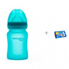 Бутылочка Everyday Baby Стеклянная с индикатором температуры 150 мл и Мыло Свобода Тик-так 150 г