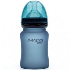 Бутылочка Everyday Baby Стеклянная с индикатором температуры и защитным силиконовым покрытием 150 мл