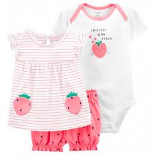 Carter's Комплект для девочки (боди, футболка, шорты) 1K443410
