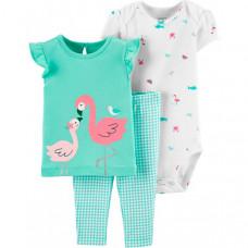 Carter's Комплект для девочки Фламинго (3 предмета)