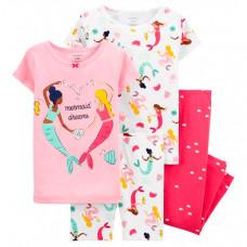 Carter's Пижама для девочки с русалками (2 футболки, шорты, брюки)
