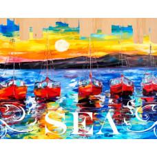 Color Kit Картина по номерам на дереве Ласковое море