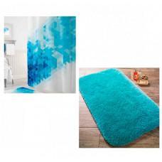 Confetti Коврик для ванны Miami 57х100 см со шторами для ванн Blue Squares Tropikhome