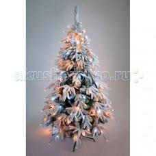 Crystal Trees Искусственная Ель Маттерхорн заснеженная с вплетенной гирляндой 180 см