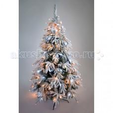 Crystal Trees Искусственная Ель Маттерхорн заснеженная с вплетенной гирляндой 210 см