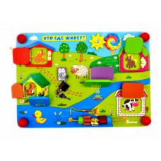Деревянная игрушка Alatoys Бизиборд Кто где живет