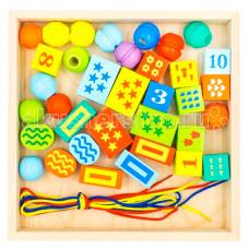 Деревянная игрушка Alatoys Конструктор шнуровочка 35 деталей