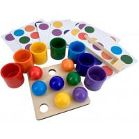 Деревянная игрушка Эврилэнд Монтессори Шарики в стаканчиках с карточками 7 цветов
