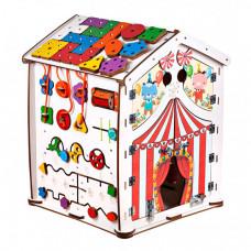 Деревянная игрушка Evotoys Бизиборд домик Знайка Цирк Макси