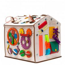 Деревянная игрушка Evotoys Бизиборд домик Знайка Космос Мини