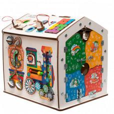 Деревянная игрушка Evotoys Бизиборд домик Знайка Радуга Миди
