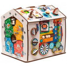 Деревянная игрушка Evotoys Бизиборд домик Знайка Радуга Мини