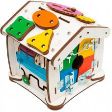 Деревянная игрушка Evotoys Бизиборд домик Знайка Семицвет Кроха